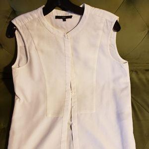 Tibi modern panelled white cotton shirt